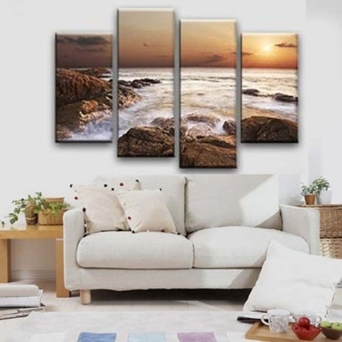 Rocky Sea 4 Piece HD Multi Panel Canvas Wall Art Frame
