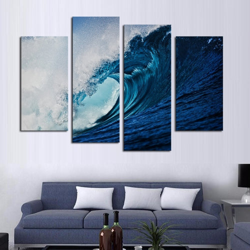 Blue Sea Waves 4 Piece HD Multi Panel Canvas Wall Art Frame