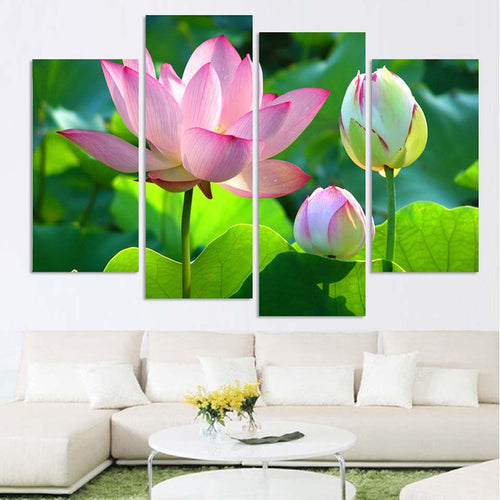 Pink Lotus Flowers 4 Piece HD Multi Panel Canvas Wall Art Frame