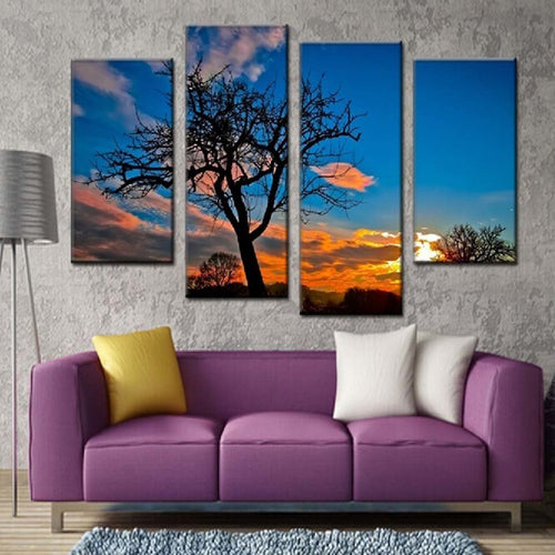 Sunset Scenery 4 Piece HD Multi Panel Canvas Wall Art Frame