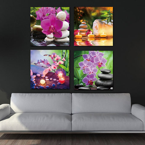 Purple Flowers Candles 4 Piece HD Multi Panel Canvas Wall Art Frame