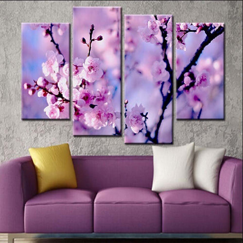 Beautiful Blossom Flower 4 Piece HD Multi Panel Canvas Wall Art Frame