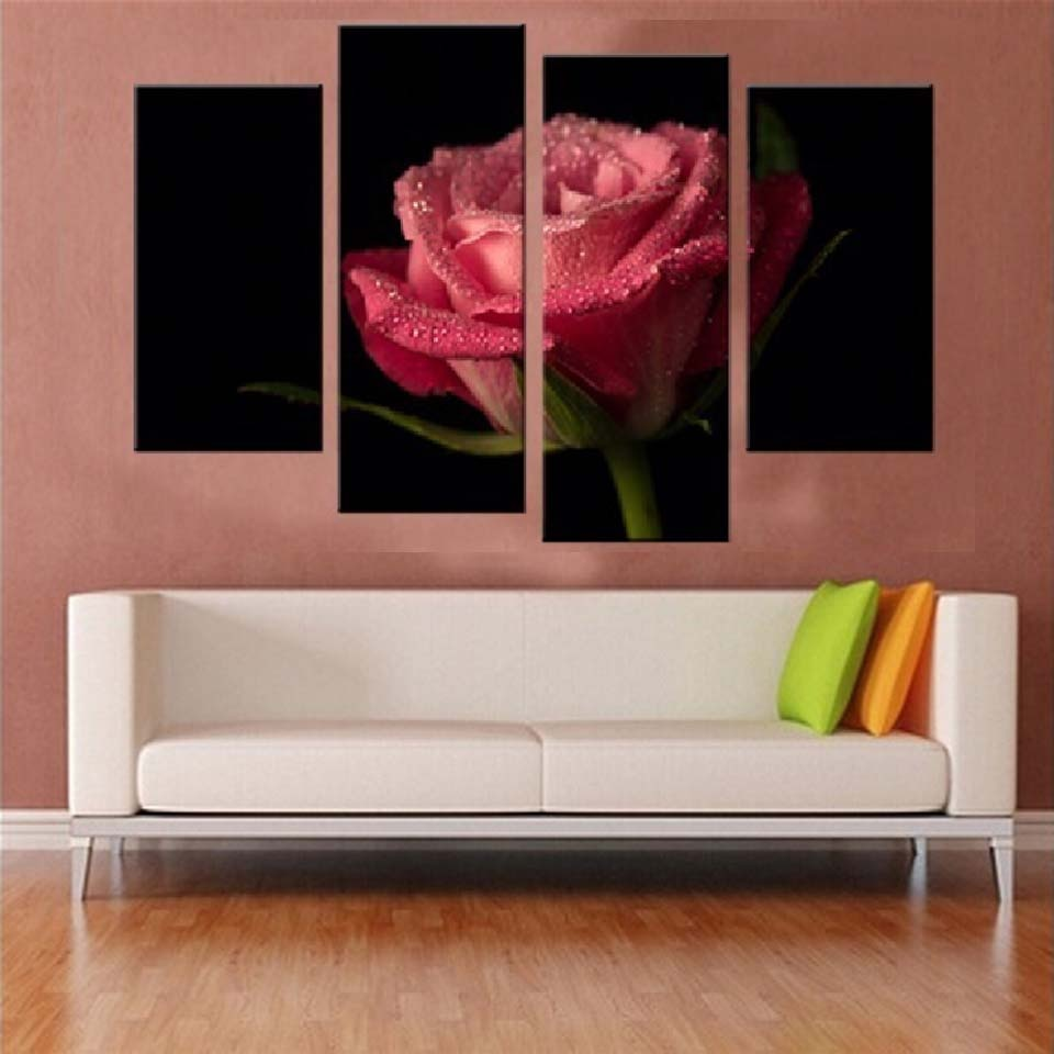 Pink Rose Flower 4 Piece HD Multi Panel Canvas Wall Art Frame