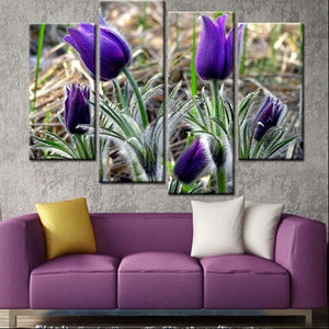 Purple Tulips 4 Piece HD Multi Panel Canvas Wall Art Frame