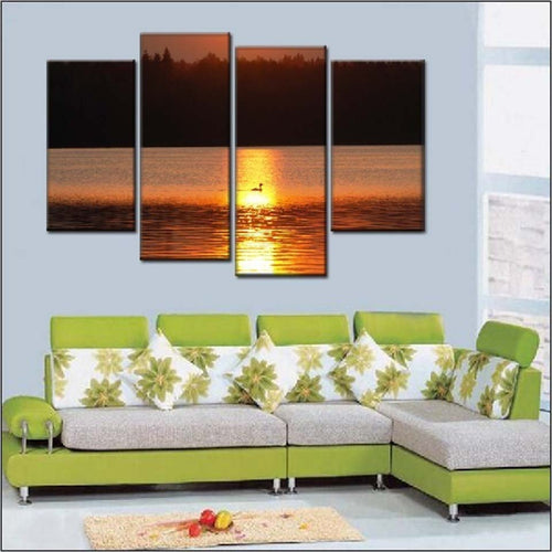 Bird in Sunlit Lake 4 Piece HD Multi Panel Canvas Wall Art Frame