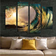 Sea Waves Sunset 4 Piece HD Multi Panel Canvas Wall Art Frame