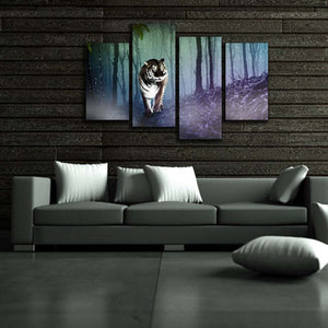 Tiger Forest 4 Piece HD Multi Panel Canvas Wall Art Frame