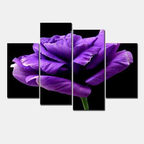 Purple Rose 4 Piece HD Multi Panel Canvas Wall Art Frame