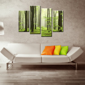 Green Forest Scenery 4 Piece HD Multi Panel Canvas Wall Art Frame