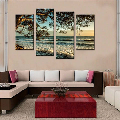 Blue Sea Waters 4 Piece HD Multi Panel Canvas Wall Art Frame