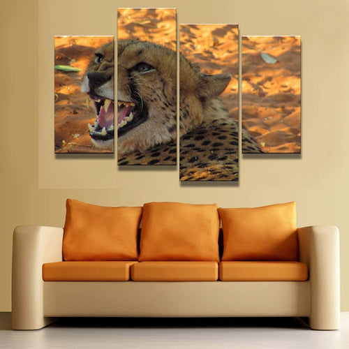 Yellow Leopard 4 Piece HD Multi Panel Canvas Wall Art Frame