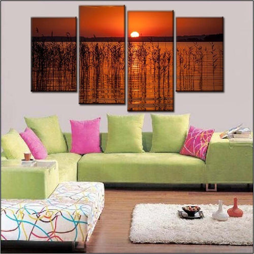 Beautiful Sunrise On Lake 4 Piece HD Multi Panel Canvas Wall Art Frame