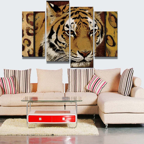 Tiger 4 Piece HD Multi Panel Canvas Wall Art Frame
