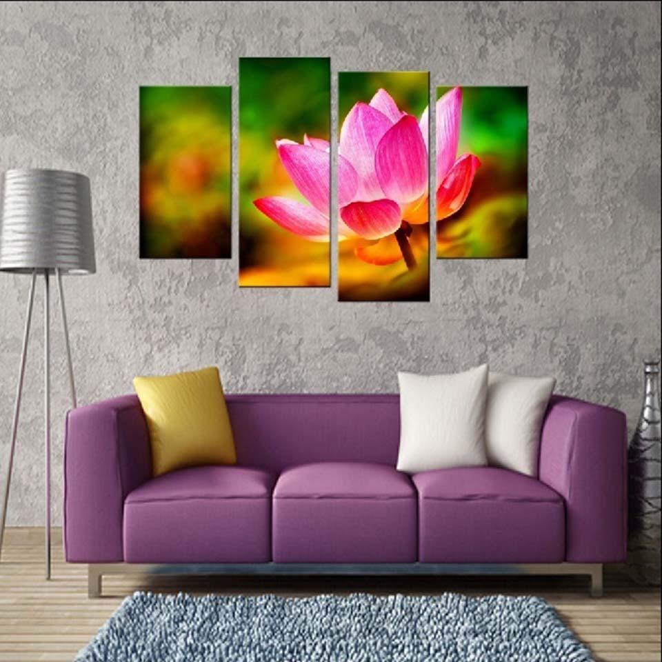 Bright Lotus 4 Piece HD Multi Panel Canvas Wall Art Frame