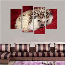 Hedgehog On a Red Cloth 4 Piece HD Multi Panel Canvas Wall Art Frame