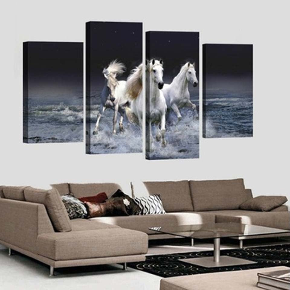 Running Horses 4 Piece HD Multi Panel Canvas Wall Art Frame
