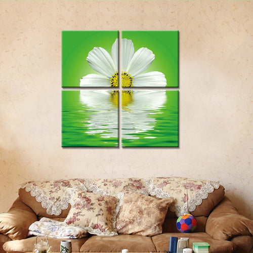 White Flowers In Clear Water 4 Piece HD Multi Panel Canvas Wall Art Frame