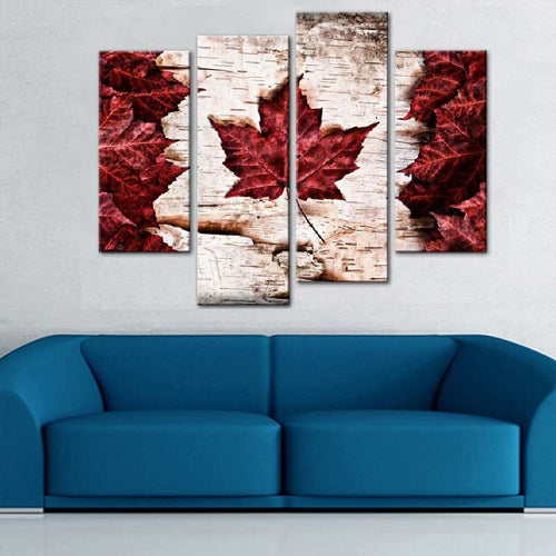 Canada Flag Maple Leaves 4 Piece HD Multi Panel Canvas Wall Art Frame