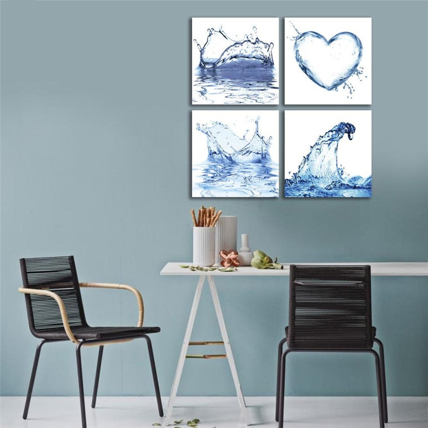Water Shapes 4 Piece HD Multi Panel Canvas Wall Art Frame