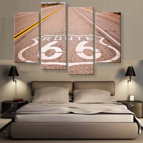 Route 66 4 Piece HD Multi Panel Canvas Wall Art Frame
