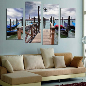 Lake Ship Plank Bridge 4 Piece HD Multi Panel Canvas Wall Art Frame