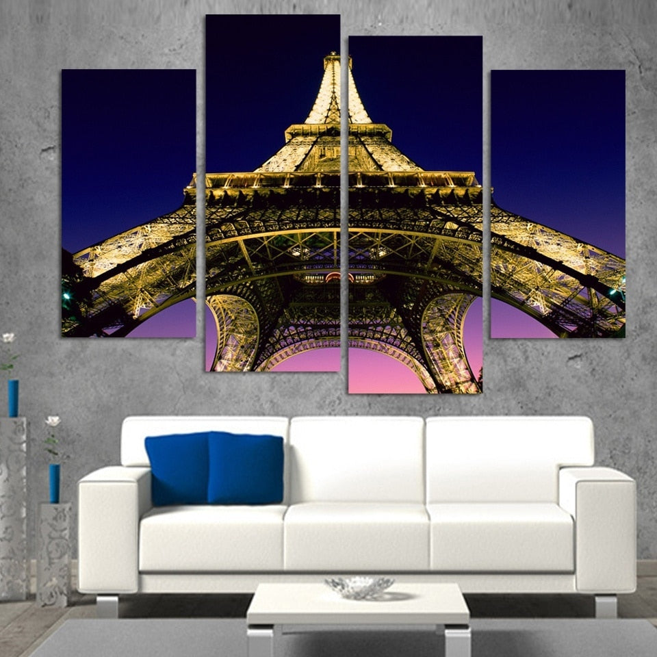 Lit Eiffel Tower 4 Piece HD Multi Panel Canvas Wall Art Frame