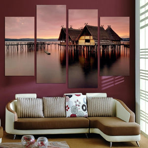 Small House On River Shore 4 Piece HD Multi Panel Canvas Wall Art Frame