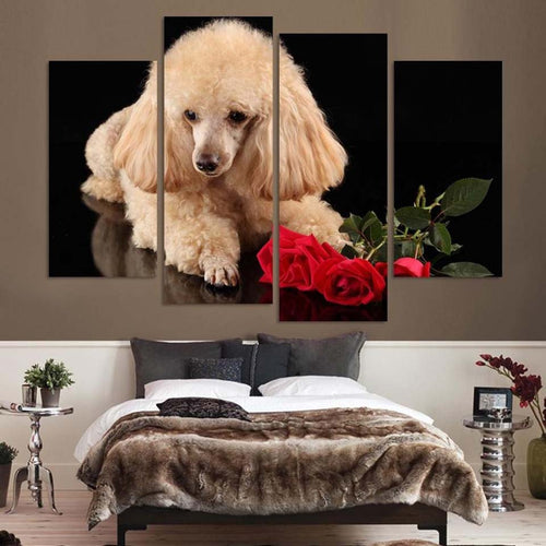 Dog Roses 4 Piece HD Multi Panel Canvas Wall Art Frame