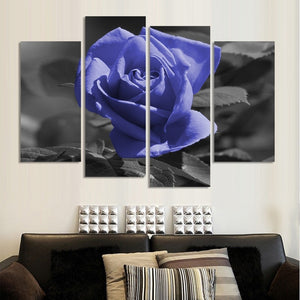 Violet Rose Flower 4 Piece HD Multi Panel Canvas Wall Art Frame