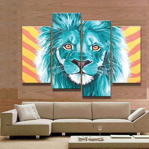 Lion 4 Piece HD Multi Panel Canvas Wall Art Frame