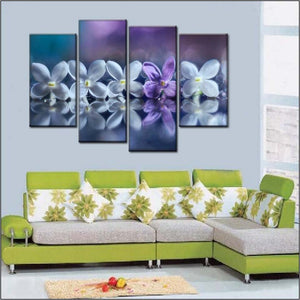 Purple And White Petals 4 Piece HD Multi Panel Canvas Wall Art Frame