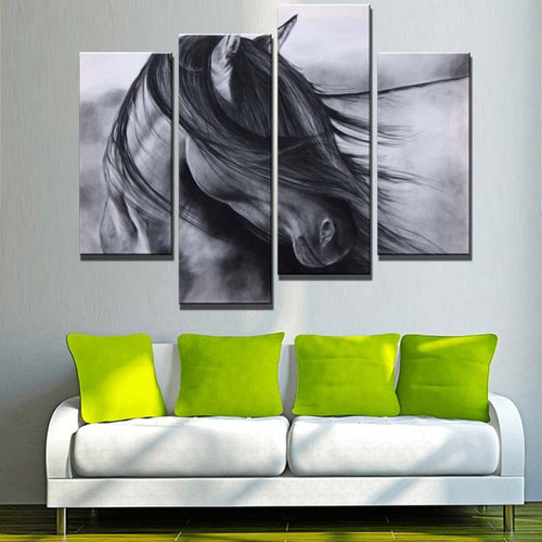 Elegant Black Horse 4 Piece HD Multi Panel Canvas Wall Art Frame
