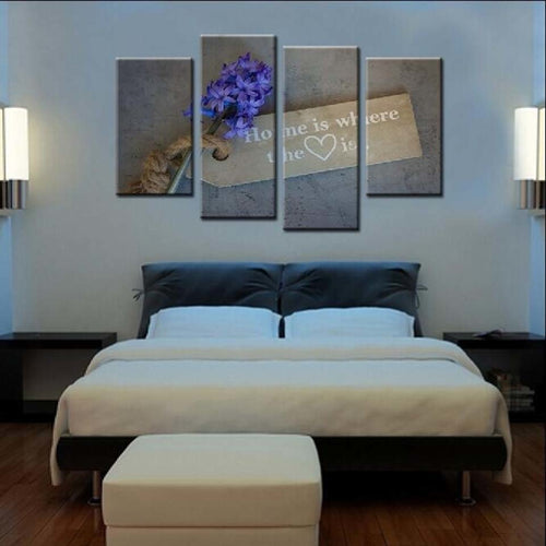 Home Heart 4 Piece HD Multi Panel Canvas Wall Art Frame