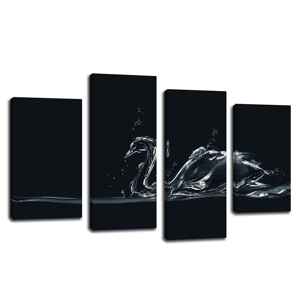 Water Swan 4 Piece HD Multi Panel Canvas Wall Art Frame