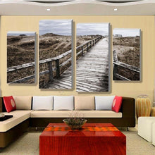 Wooden Bridge 4 Piece HD Multi Panel Canvas Wall Art Frame
