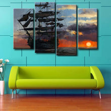 Sea view Sailboat 4 Piece HD Multi Panel Canvas Wall Art Frame
