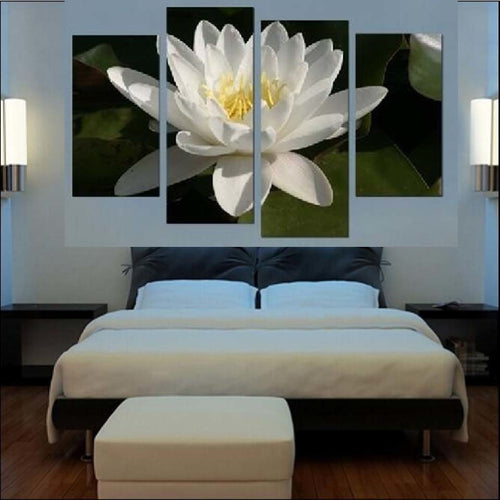White Lotus Flower 4 Piece HD Multi Panel Canvas Wall Art Frame