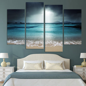 Sandy Beach 4 Piece HD Multi Panel Canvas Wall Art Frame