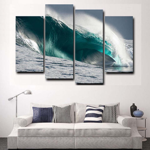 Sea Waves 4 Piece HD Multi Panel Canvas Wall Art Frame