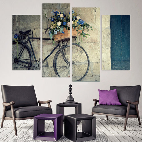 Retro Bike 4 Piece HD Multi Panel Canvas Wall Art Frame