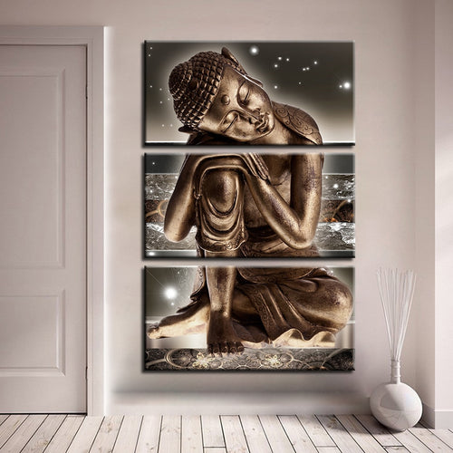 Buddha Bronze Statue 3 Piece HD Multi Panel Canvas Wall Art Frame