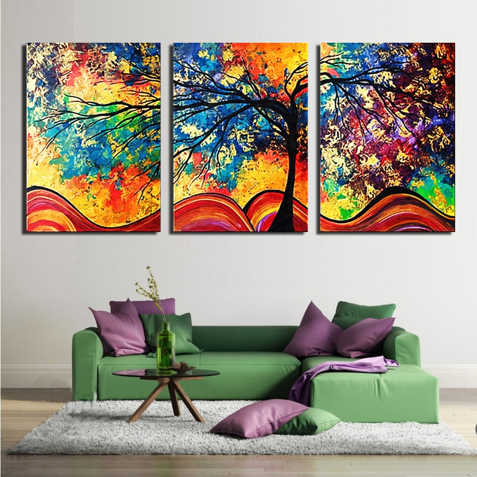 Tree Colors 3 Piece HD Multi Panel Canvas Wall Art Frame