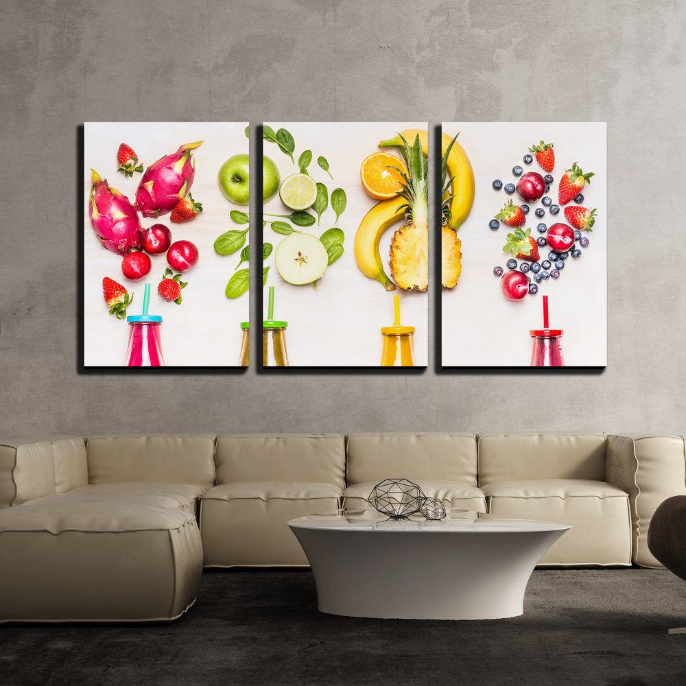 Fruits Smoothies 3 Piece HD Multi Panel Canvas Wall Art Frame