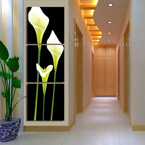Lily Flowers 3 Piece HD Multi Panel Canvas Wall Art Frame
