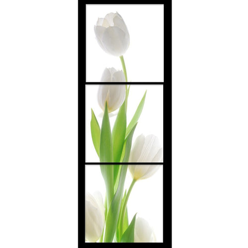 White Tulips 3 Piece HD Multi Panel Canvas Wall Art Frame
