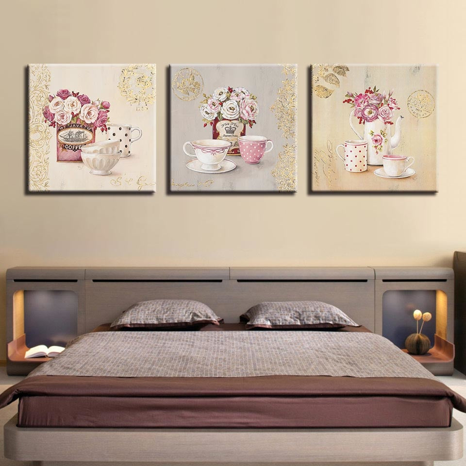 Tea Cups Paintings 3 Piece HD Multi Panel Canvas Wall Art Frame