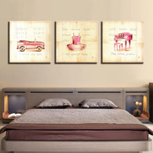 Kid's Car, Skirt & Piano 3 Piece HD Multi Panel Canvas Wall Art Frame