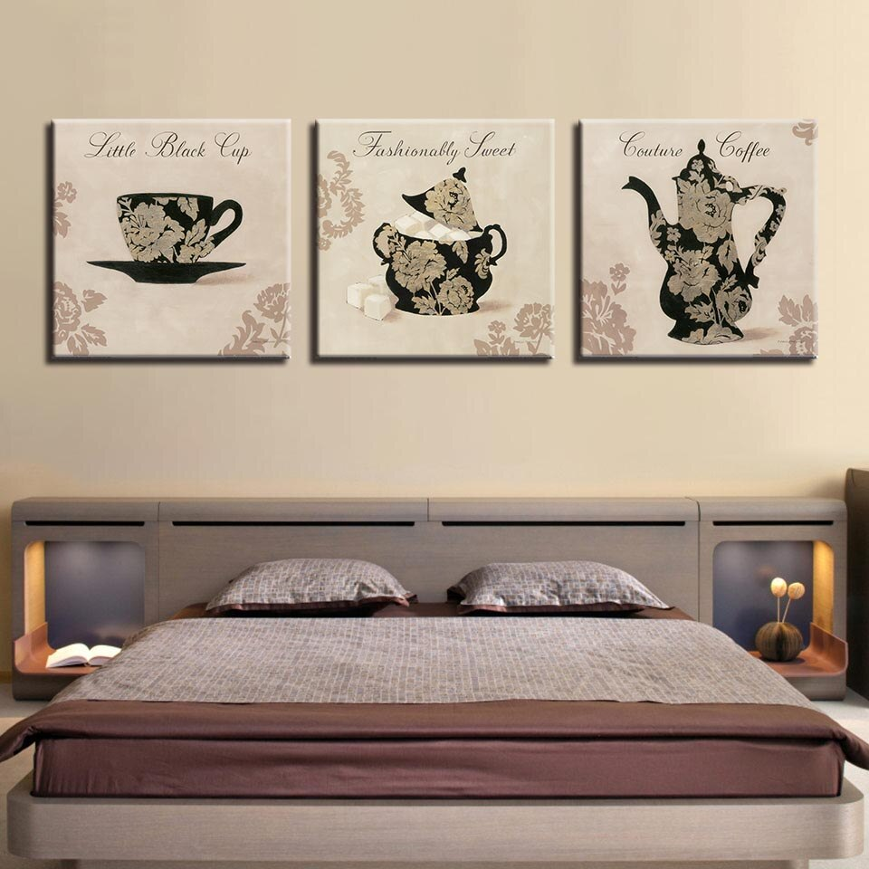Tea Pot Set 3 Piece HD Multi Panel Canvas Wall Art Frame