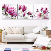 Magnolia Flowers 3 Piece HD Multi Panel Canvas Wall Art Frame