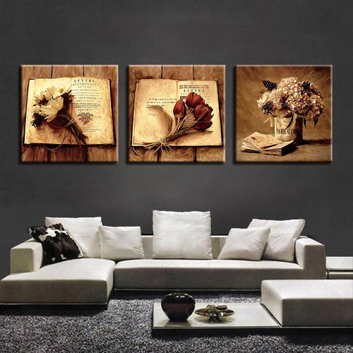 Bouquet Pictures 3 Piece HD Multi Panel Canvas Wall Art Frame